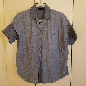 Madewell Courier Shirt, Blue-gray Stripe, S